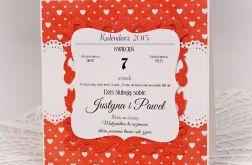 Kartka na ślub z kalendarzem (wzór)