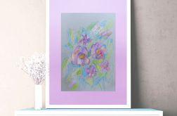 Rysunek z kwiatami na fioletowym tle nr 1