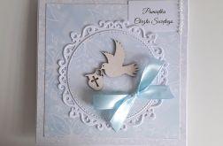 Kartka na Chrzest różowa z gołąbkiem niebiesk