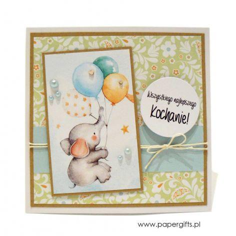 Kartka na urodziny dziecka słonik z balonem