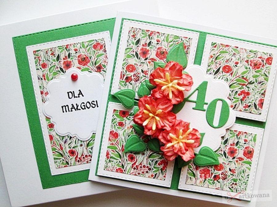 Kartka URODZINOWA z czerwonymi kwiatami #1