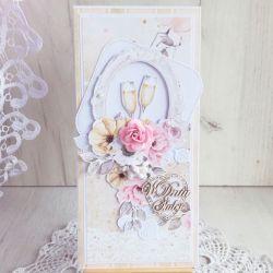 Kartka ślubna DL MarryMe z kieliszkami GOTOWA
