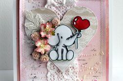 Kartka ze słonikiem na szczęćie.