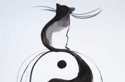 """""""BALANS Z KOTEM"""" akwarela, kaligrafia chińska"""