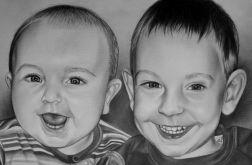 Portret 2 osób ze zdjęcia (ołówek/sepia)