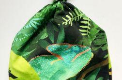 Czapka z supełkiem Zielone Kameleony