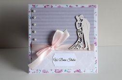 Kartka ślubna koronka perełki para młoda