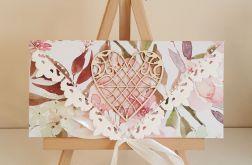 Kartka ślubna kopertówka - ażurowe serce