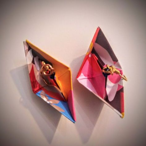 Kolczyki origami łódki kolorowe