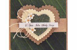 Kartka ślubna serca na zielonym tle styl boho