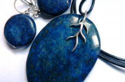 Lapis lazuli z pirytem, wisiorek i kolczyki