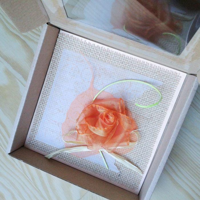 Kartka rustykalna z różą