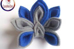 Broszka z filcu - kwiat szaro niebieski