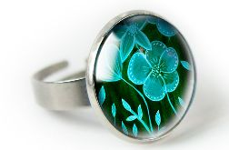 Green flower pierścionek z ilustracją