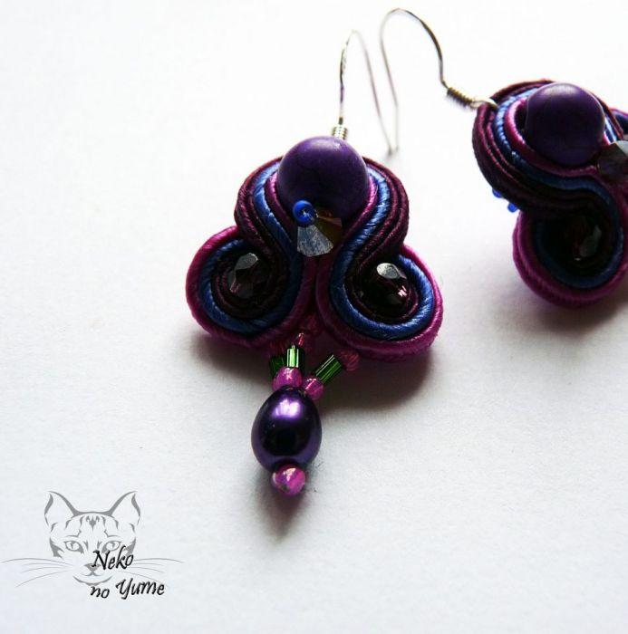 Małe kolczyki sutasz - fiolet z różem