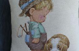 Poduszka gobelinowa Chłopiec i Piesek