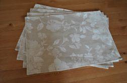 Podkładki pod talerze białe kwiaty na lnie 4 szt.