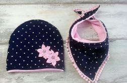 Ciepły zimowy komplet, czapka i trójkąt