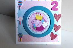 Kartka na Urodziny Świnka Peppa różowa p