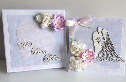 Kartka ślubna wraz z pudełkiem kwiaty różowe