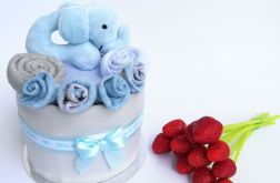 MINI Tort wyprawkowy - szaro- niebieski