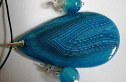 Błękitne agaty, wisior i kolczyki