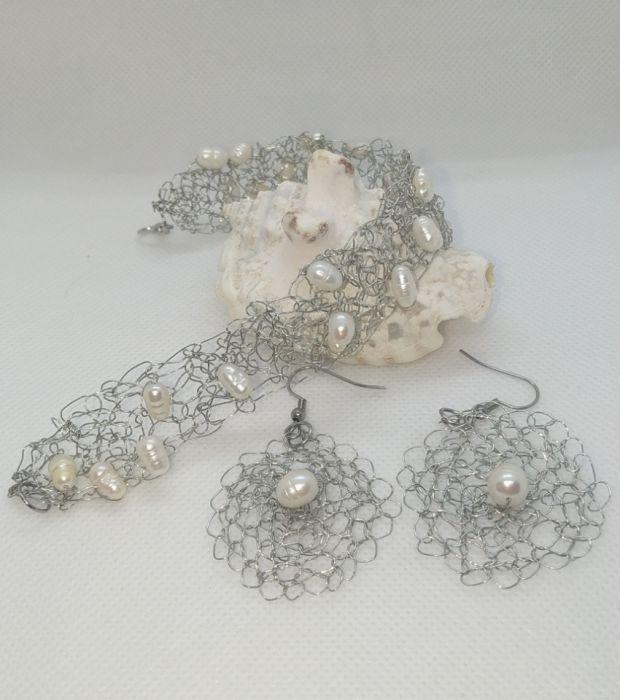 Kolczyki szydełkowe z naturalną perłą - Możliwość utworzenia kompletu z bransoletką