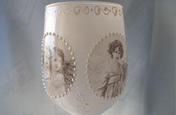 świecznik-lampion szklany z aniołkami