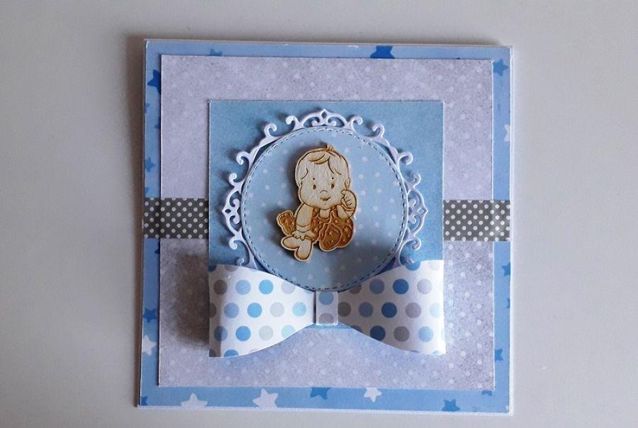 Kartka na Chrzest, Roczek, Narodziny niebiesk -