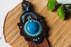 Brązowo-turkusowy wisior z chwostami