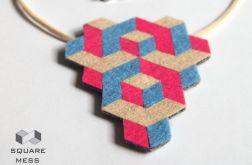 Geometryczny różowo-niebieski naszyjnik z filcu