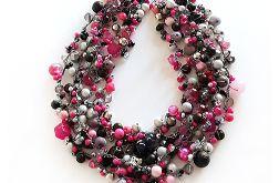 5034 naszyjnik kolia czarny szary różowy