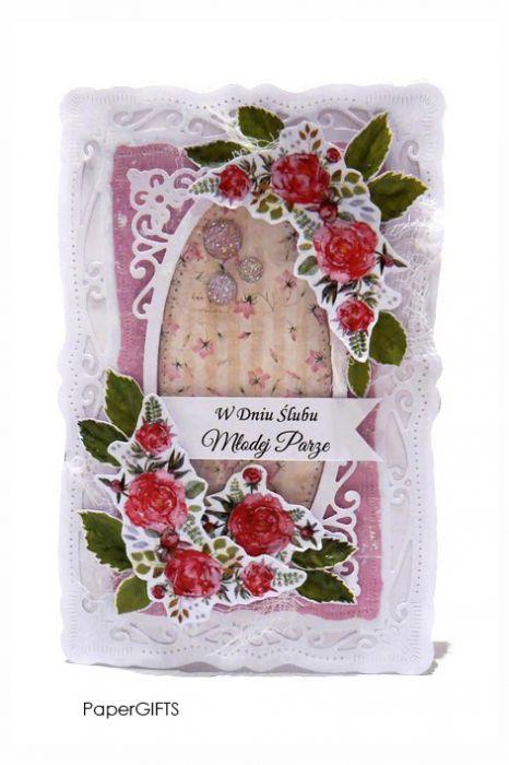 Kartka ślubna z piwoniami ręcznie robiona