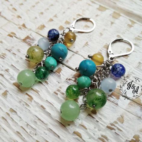 zielono-niebieskie gronka na łańcuszku