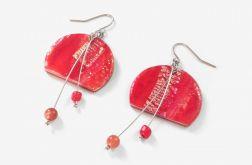 Czerwone kolczyki z kamieniem słonecznym