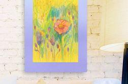 Rysunek kwiaty na fioletowym tle nr 12 szkic
