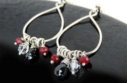 Kolczyki srebrne rubin spinel Swarovski
