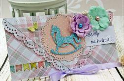 Kartka z okazji narodzin- turkusowy konik