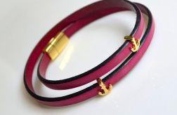 Bransoletka leather fuchsia + anchor