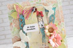 Kartka dla nastolatki - kwiaty, motyl