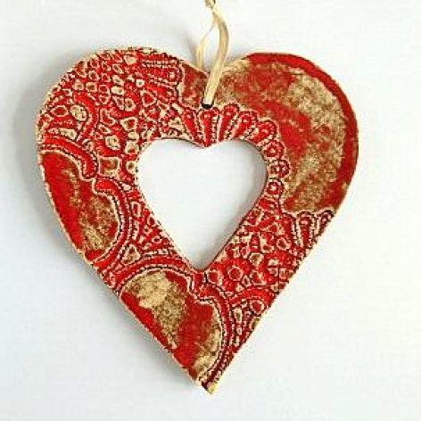 Ceramiczne serce ażurowe wiszące średnie