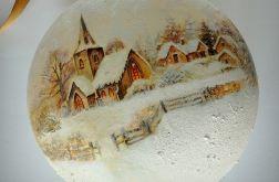 Bombka Zimowy widok z życzeniami Wesołych Świąt