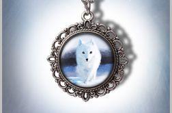 Medalion Biały lis - White fox - romantyczny