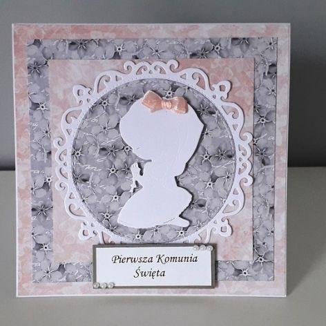 Kartka Komunia Święta IHS dziewczynka biała
