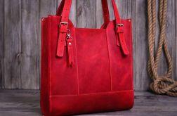 Ręcznie robiona skórzana torebka-czerwona