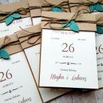 Zaproszenia ślubne rustykalne z listkami