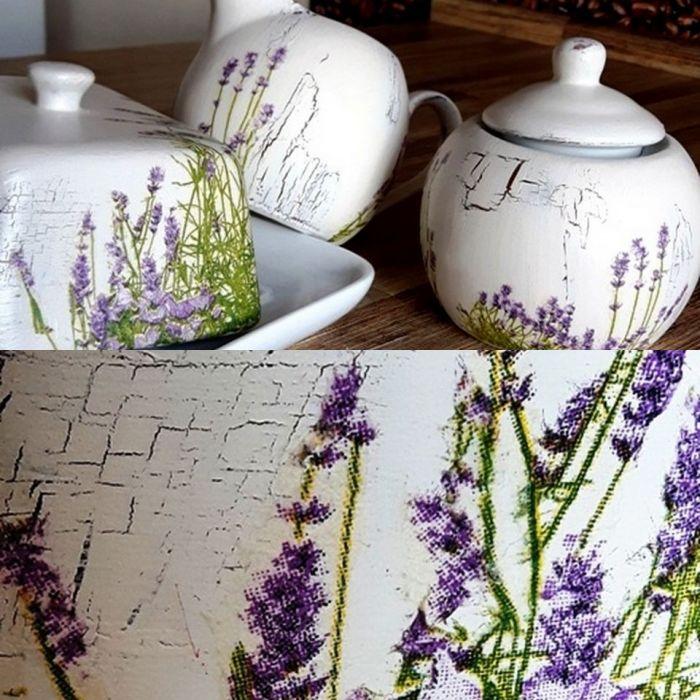 Zestaw ceramicz lawendowy  ecru