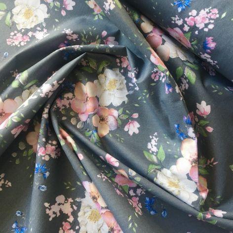 Tkanina bawełna- kwiaty jabłoni na szarym