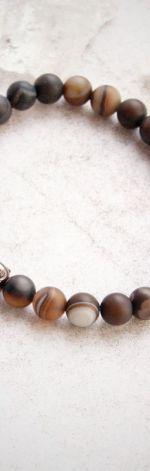 męska bransoletka :: budda & AGAT brązowy
