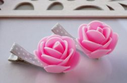 spinki handmade 2 szt. kwiatki róż+szary 2
